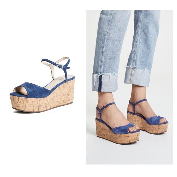 d5992a685f1bc Anthropologie Shoes | Schultz Heloise Flatform Navy Cork Wedges ...